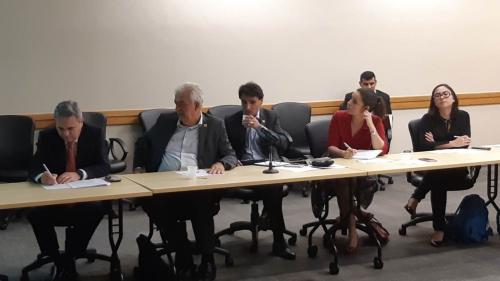 Ricardo Santin/ABPA; Fabio Trigueirinho, André Nassar, Cindy Moreira/ABIOVE; Bianca Nakamato/ABIEC e Bruno Caputi/Sindirações (ao fundo)